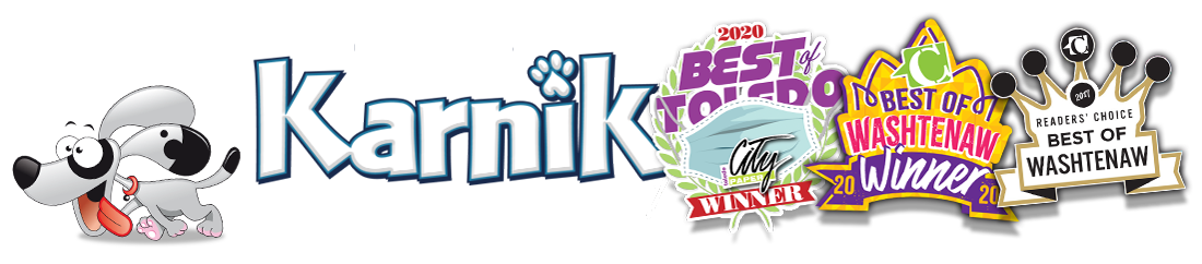 Karnik mascot leading the way followed by best of Toledo 2020 and best of Washtenaw 2020 logos.